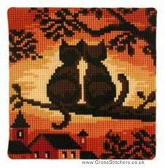 Cats - Cats Sunset Cushion Front Cross Stitch Kit by Vervaco