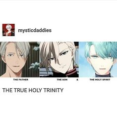 Victor from Yuri!!! On ice, Shinya from Owari no seraph, V from mystic messenger