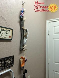 Hanging sock line for lost socks {featured on #HomeStorageSolutions101}