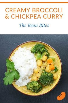 This broccoli and chickpeas curry is made super creamy with coconut milk and almond butter. It's a filling vegan chickpea recipe to serve with white rice or fresh, warm naan. Vegan Chickpea Recipes, Healthy Italian Recipes, Veggie Recipes Healthy, Entree Recipes, Bean Recipes, Vegetarian Recipes, Healthy Meals, Delicious Recipes, White Rice Recipes