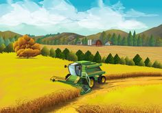 Illustration about Farm rural landscape, vector background. Illustration of landscape, green, background - 63852544 Harvest Activities, Tractors For Kids, Arte Country, Photo Online, Diorama, Vector Background, Cute Drawings, Landscape Paintings, Fields