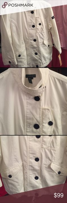 White designer jean jacket Ralph Lauren jean jacket with nautical buttons and toggle button on collar! Back has embroidered Ralph Lauren  logo! Is a classic must have piece!! Lauren Ralph Lauren Jackets & Coats Jean Jackets