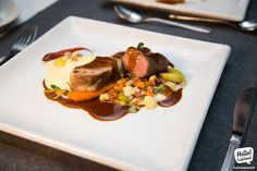 Reindeer two ways with vegetables –a true delicacy! Enjoyed at Sky Hotel Restaurant in Rovaniemi.