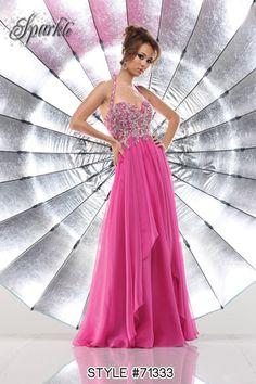 Style #71333  #prom #dress #promdress #pink #jeweled #sparkle