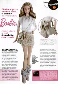 Barbie and Cosmopolitan teamed up to create 5 beautiful dolls dressed in Italy's designer clothes, for a project called Barbie Play With Fashion. The first doll is a beautiful Cosmo Girl that wears the creations of TWIN SET Simona Barbieri