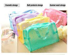 Draagbare reizen cosmetische bag make, dame bruikbaar transparante toiletartikelen netto zak met kleine suihua merk, waterdichte opbergtas in Materiaal: pvcGrootte: 23*13*9cmGewicht: over 28g/pcKleur: transparant blauw, paars, roze, groene, gele kleur.Noot: geli van cosmetische tassen en koffers op AliExpress.com | Alibaba Groep