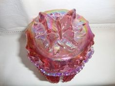 Fenton Pink Glass Candy Dish | Signed Fenton Pink Carnival Hobnail Candy Dish w Butterfly Covered Lid ...