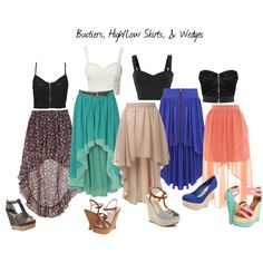 Bustiers, High/Low Skirts, & Wedges