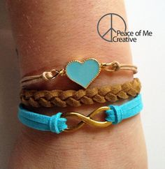 Layered Heart & Infinity Bracelet in by PeaceOfMeCreative on Etsy
