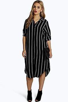 Plus Emma Striped Shirt Dress Day To Night Dresses, Casual Day Dresses, Stylish Dresses, Evening Dresses, Short Dresses, White Cami Dress, Striped Shirt Dress, Trendy Plus Size Fashion, Curvy Fashion