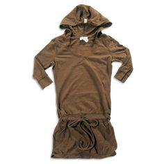 So Nikki - Girls 3/4 Sleeve Hooded Tunic, Chocolate Brown