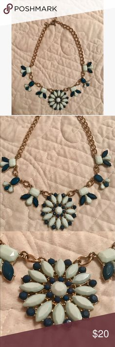 """J.Crew Blue Statement Necklace Navy and light blue statement necklace from J.Crew. Worn only once so it's in perfect condition. This would add a really nice pop of color to any outfit! Gold chain measures 18"""" with a 2"""" extender chain for adjustable length. J. Crew Jewelry Necklaces"""