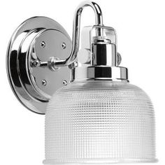 Progress Bathroom fixture Model Archie Chrome Bath Light with Clear double prismatic glass shade. Traditional from the Nickel & Steel finishes group in Polished Chrome. 1 Light Bath Fixtures category from the Archie family. Bathroom Wall Lights, Bathroom Wall Sconces, Glass Bathroom, Bathroom Vanity Lighting, Light Bathroom, Bathroom Ideas, Hall Bathroom, Basement Bathroom, Bathroom Island