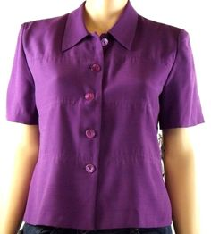 Women's Purple Size 18 Blouse Short Sleeve Button Front Lined Light Weight NWT #MHMMelisaHarper #Blouse #Career