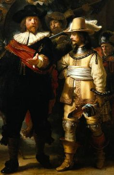 The Night Watch, detail 2 Rembrandt. The Night Watch (The Militia Company of Captain Frans Banning Cocq and of Lieutenant Willem van Ruytenburgh). Oil on canvas. Rijksmuseum, Amsterdam, the Netherlands. Baroque Painting, Baroque Art, Rembrandt Paintings, Rembrandt Art, Dutch Golden Age, Dutch Painters, Leiden, Art Academy, Sculptures