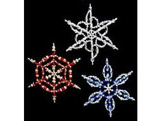 Wire & Crystal Beaded Snowflake Ornaments