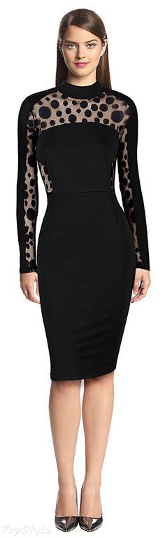 MIUSOL High Collar Polka Dot Lace Dress