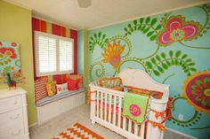 House of Turquoise:  Turquoise Nurseries Galore  love the wall!