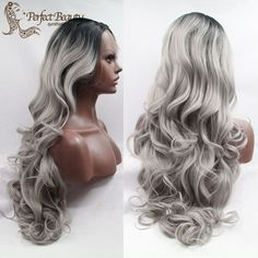 Ombre Hair Wig with Grey Lace Front Wavy Wig Cheap Synthetic Long Wig Heat Resistant Black to Grey Ombre Wig
