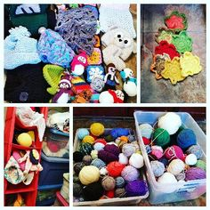 These are the purged items from the bins: randomly crocheted/knitted hats cowls scarves toys and baby clothes as well as leaves sweaters dishcloths  scrubbing rags bags and more toys. I was able to get all of the worsted weight balls into two bins.  I was also able to reorganize bins by yarn weight. Now almost all of my yarn fits in totes in the closet...lol...almost. by bizzy_crochet