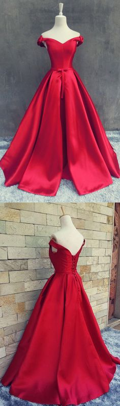 A Line Off Shoulder Long Pleated Red Prom Dress Lace up with Bowknots prom,prom dress,prom gown,prom gowns,red prom,red prom dress,long prom dress