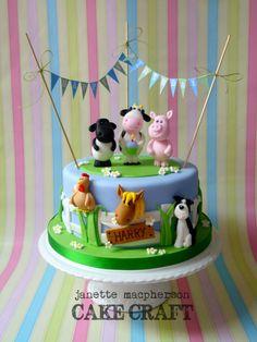 1st Birthday Farm Animals Cake