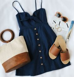 Spring outfits for ideas and scholl and korean. Spring Fashion Rodeo Navy Blue Tie-Front Dress Source by Trend Fashion, Look Fashion, Womens Fashion, Feminine Fashion, Fashion Ideas, Latest Fashion, Romantic Style Fashion, Fashion Online, Romantic Outfit