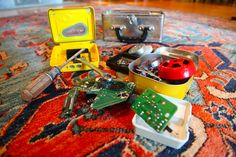 Rather than throwing away your broken gadgets like alarm clocks and an old Sony Walkman, let your curious child take them apart for an inventor's kit. (Put in Carter's kit)