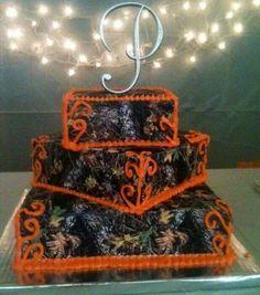 Camo and blaze orange wedding cake