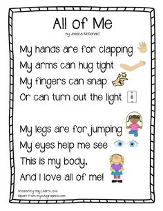 """All About Me"" Body Parts Poem : Preschool and Toddler Lesson Plan with Free Printable! This song can be sung to the tune of ""On top of old smoky"" All About Me Preschool Theme, Preschool Poems, Body Preschool, Kids Poems, Preschool Lessons, Preschool Classroom, Preschool Learning, Kindergarten Poems, Body Parts Preschool Activities"