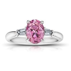 Pre-owned Platinum 1.97ct Oval Pink Sapphire and Diamond Ring Size 7 (£7,365) ❤ liked on Polyvore featuring jewelry, rings, bullet jewelry, platinum rings, diamond jewelry, diamond rings and bullet diamond ring