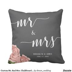 Custom Mr. And Mrs. Chalkboard Wedding Pillows