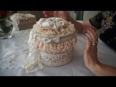 """Powder Puff"" Altered Box and Mini Journal Fleurs Style Shabby Chic, Shabby Chic Crafts, Shabby Chic Cottage, Victorian Crafts, Victorian Dolls, Altered Boxes, Altered Art, Fabric Journals, Fabric Books"