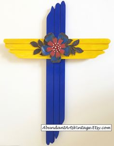Decorative Blue & Yellow Wood Cross with metal accent at #AbundantArtsVintage #Etsy #Easter #ChristianCross #DecorativeCross #WoodCross #RusticHomeDecor #HomeDecor to buy click image