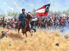 """Drive Them to Washington"" General Thomas J. Jackson (Stonewall) leads his brigade at the Battle of 1st Manassas . Contrary to many artistic depictions , Stonewall wore the flat topped cap of the 1840s-50s , this is confirmed by contemporary descriptions of him at the battle."