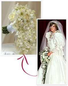 Princess Diana's Wedding Bouquet: David Longman of the Worshipful Company of Gardeners designed a free-flowing arrangement of three orchid varieties for Diana's walk down the aisle.