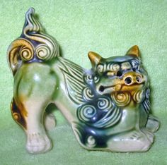 Vintage Chinese Foo Fu Dog Statue Lion Dog Guardian Ceramic 3.5""