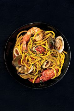 Bucatini ai Frutti di Mare (Seafood Pasta) from ISSUE The recipe for this shellfish-laden pasta comes from chef Michael Chiarello. Summer Pasta Dishes, Summer Pasta Recipes, Seafood Pasta Recipes, Best Pasta Recipes, Lobster Recipes, Seafood Dishes, Cooking Recipes, Pasta Food, Yummy Recipes