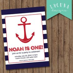 Nautical Birthday Invitation Nautical Birthday by LaLunaDesigns, $17.00