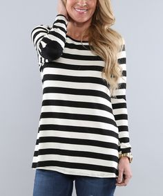 Love this Coco and Main Black & White Stripe Elbow-Patch Button-Back Tunic by Coco and Main on #zulily! #zulilyfinds