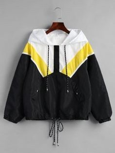 Half Zip Contrast Hooded Windbreaker Jacket – Black L – Fashion is my Profession Girls Fashion Clothes, Girl Fashion, Fashion Outfits, Clothes For Women, Trendy Fashion, Fashion Fall, Coats For Women, Jackets For Women, Black Jackets