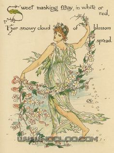 Flora's Feast (1889) p. 17 by Walter Crane  (A Fairy's Festival of Flowers)