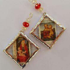 Set of 2 Vintage Christmas postage stamp ornaments with faceted crystal beads soldered in beveled glass  FREE Shipping with ANOTHER Item