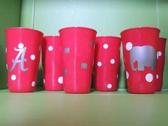 Roll Tide Alabama Tailgating Cups in crimson and white with elephant. $15.00, via Etsy.