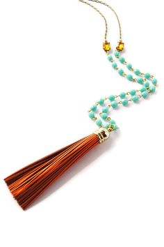 Long Leather Tassel Necklace Orange and Turquoise