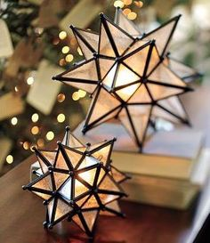 Beautiful Moravian star lamps.  The Moravian star is an illuminated piece of Advent or Christmas decoration popular in Germany and in places in America and Europe