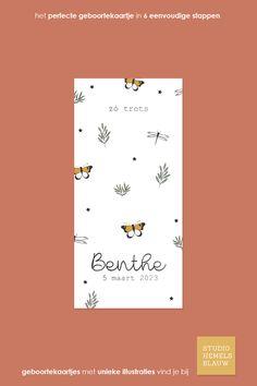 Een prachtig geboortekaartje voor een meisje met botanisch thema. De kaart bevat ook zwarte folie. Dat geeft het kaartje een luxe uitstraling. Wil je een andere kleur folie? Dat kan! #geboortekaartje #studiohemelsblauw #geboortekaartjes #botanisch #vlinder #takjes #zwartfolie #foliedruk Movie Posters, Lush, Film Poster, Billboard, Film Posters