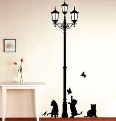 Free Shipping   Popular Ancient Lamp Cats and Birds Wall Sticker Wall Mural Home Decor Room Kids Decals Wallpaper-in Wall Stickers from Home & Garden on Aliexpress.com | Alibaba Group