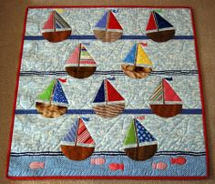 Baby Quilt or Lap Quilt Nautical Sailboat MADE TO ORDER | Sailboat ... : sailing quilt - Adamdwight.com