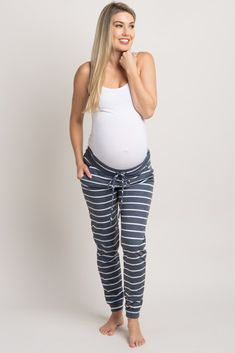 Navy Blue Striped Drawstring Sweatpants